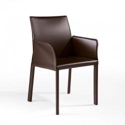 XL sedia rivestita in cuoio con braccioli