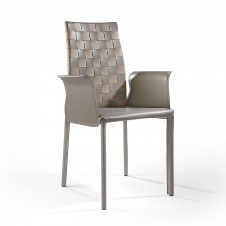Leather chair with armrests - Agata