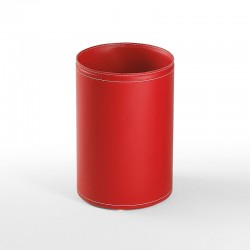 Soul round wastepaper basket in leather