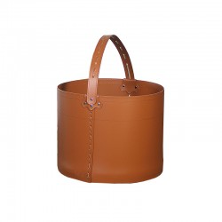 Storage bucket in leather with wheels -Frine