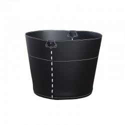 Container basket in leather...