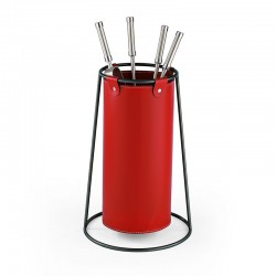 Fire tools holder in leather - Cruz