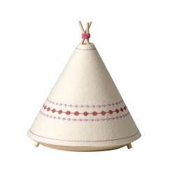 Kids lamp in wood and fabric - Tipi