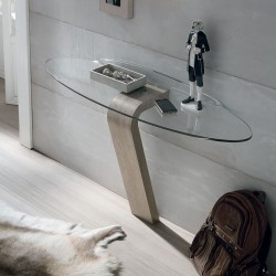 Omnia console with transparent glass top