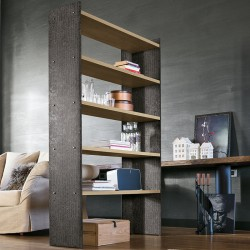 Bookcase in metal and wood -Linear 90