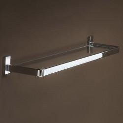Slim shelf in metal and glass.