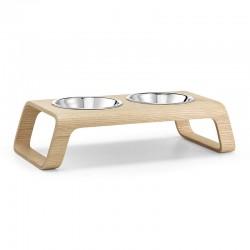 Doppia ciotola in legno per cane e gatto - Desco
