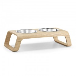 Double bowl for cat and dog in wood - Desco