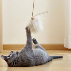 Topo giocattolo per gatto in montone e pelle