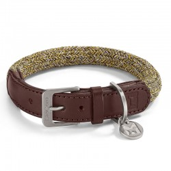 Lucca dog collar in cotton and leather
