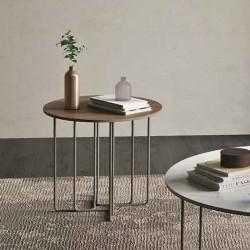 Aster 01 tavolino tondo con top laccato, impiallacciato o marmo