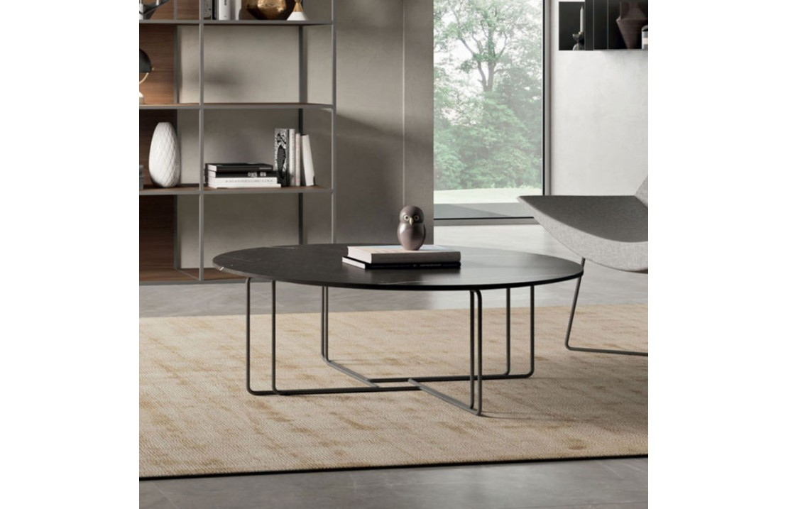 Aster 02 round coffee table with lacquered, veneered or marble