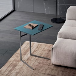 Lama side table with texture wood, lacquered or veneered top