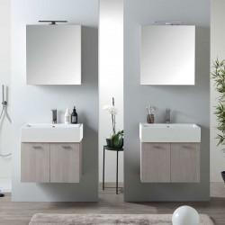 Composizione bagno doppio lavabo sospeso ad ante - Volant