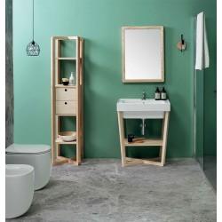 Composizione bagno con mobile e colonna in frassino - Trix 3
