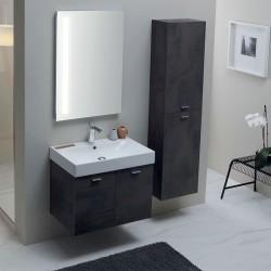 Composizione bagno con mobile sospeso, colonna e specchio -