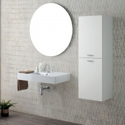 Bathroom composition with wall-mounted sink and column - Square
