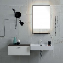 Bathroom composition with wall-mounted sink, drawers and mirror