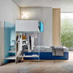 Kids Bedroom set with loft and clothes hangers - Start S35