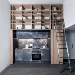 Foldaway kitchen in stone and elm - T45