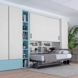 Composition with wardrobe, folding desk and single bed - Save 08