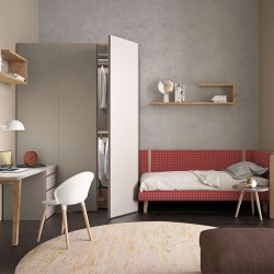 Cameretta moderna con letto, scrivania e armadio - Start Up 01