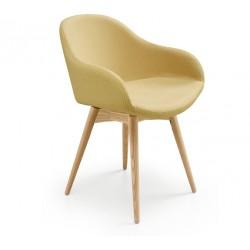 Sedia imbottita con gambe in legno - Sonny