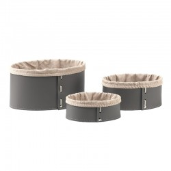Set of 3 container in leather - Iole Storage Baskets