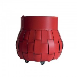 Firewood holder in leather - Treccio Fireplace Accessories