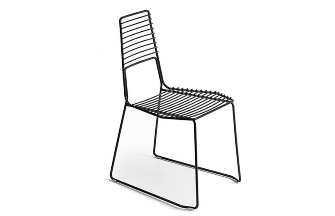Alieno metal chair with low backrest