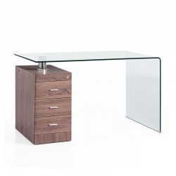 Glass desk w/pedestal - Wood