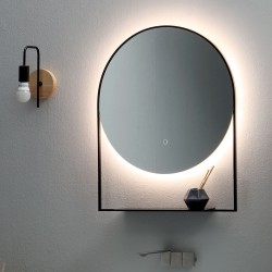 Round Backlit mirror with shelf - Cool