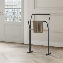 Porta asciugamano in acciaio e legno - Gongolo