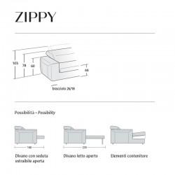 Divano con penisola contenitore - Zippy