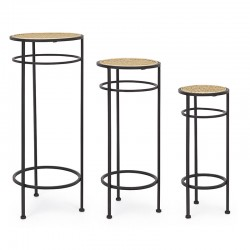 Set of 3 round Plant Pedestal in Vienna straw - Aline