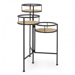 Plant Pedestal in metal and Vienna straw - Edith