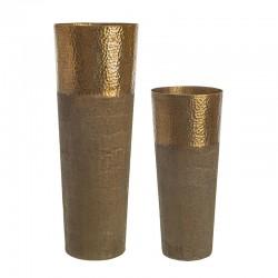 Coppia di Vasi in alluminio colore bronzo - Chad