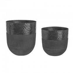 Coppia di Vasi fatti a mano in alluminio nero - Chad