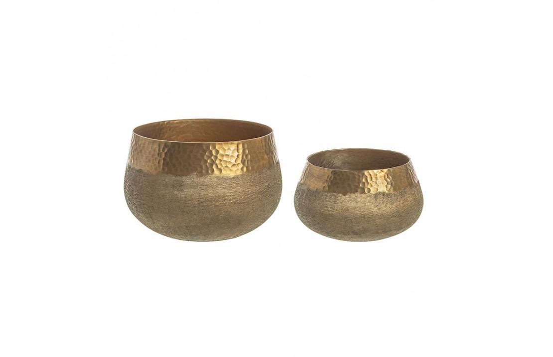 Coppia di Vasi bassi colore bronzo - Chad