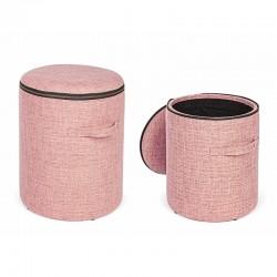 Set 2 Pouf contenitore in tessuto - Zipper