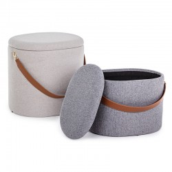 Set 2 Container Pouf in linen - Soft