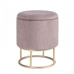 Pouf contenitore in velluto rosa / nero / grigio - Chic