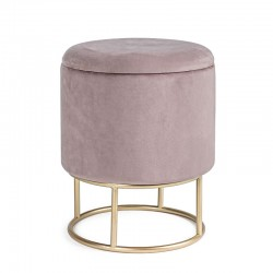 Storage Pouf in velvet pink / black / grey - Chic