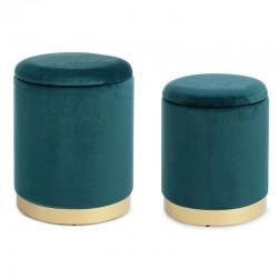 Set 2 Pouf contenitore in velluto petrolio / rosa / grigio -