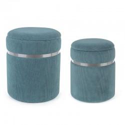 Set 2 Pouf contenitore in velluto blu, ocra, beige - Harry