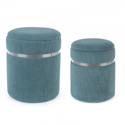 Set 2 Storage Pouf in velvet blue, yellow, beige - Harry