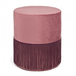 Pouf in velvet pink, grey, black - Friso