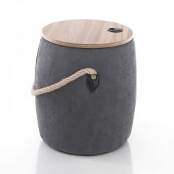 Pouf contenitore in tessuto e legno - Cask