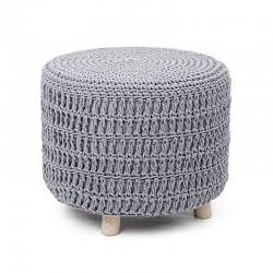 Pouf in fabric and wood - Rolf