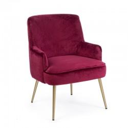 Armchair in velvet and gold steel feet - Valerie